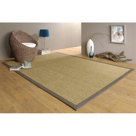 tapie de cuisine tapis taupe jonc de mer 4x4 l 140 x l 195 cm leroy merlin