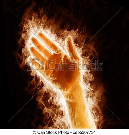 human hand open arms fire   black background