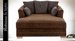 Tissu Chaise Longue : fauteuil chaise longue similicuir et tissu coloris marron int rieurs styles ~ Teatrodelosmanantiales.com Idées de Décoration