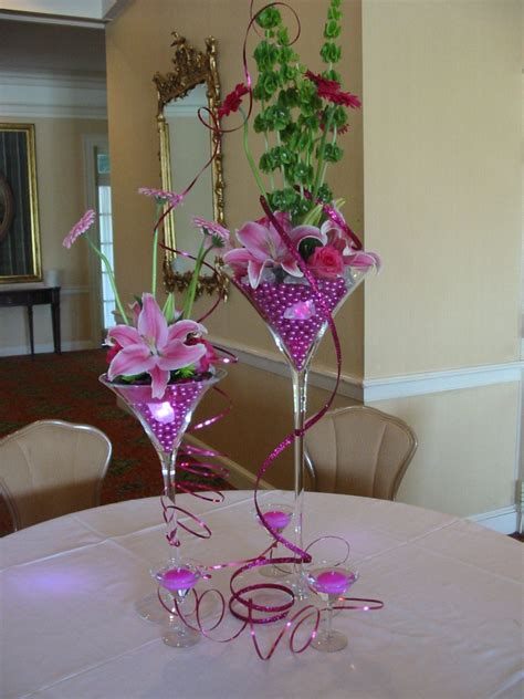 Centerpiece Using Martini Glasses Filled With Hot Pink
