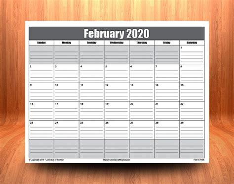 printable february  calendar  lines