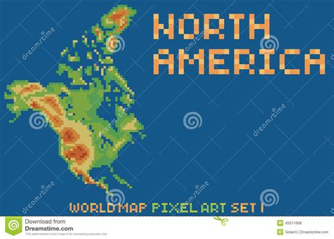 pixel style map of america contains stock