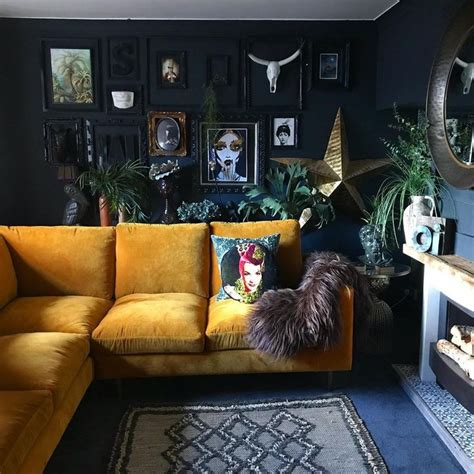 dark  moody living room   eclectic gallery wall