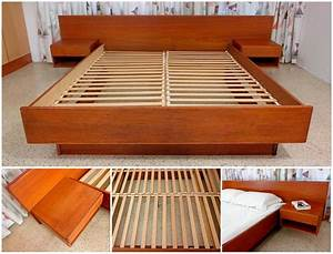 Teak Platform Bed with Floating Nightstands - a photo on