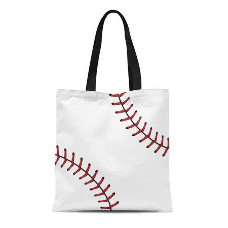 ashleigh canvas tote bag laces softball baseball red lace