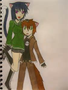 Anime Wolf Boy and Girl Cat