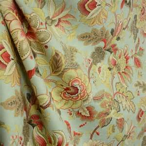 venezla dew green taupe jacobean floral linen drapery fabric by the yard traditional