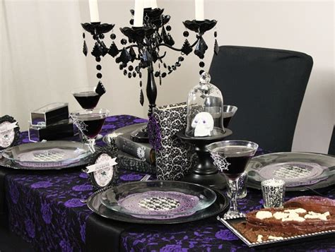 purple and black table settings chloe s inspiration halloween party decor celebrate decorate