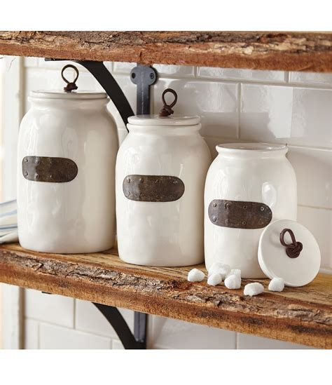 dillards kitchen canisters mud pie farmhouse bistro ceramic canisters with bronze