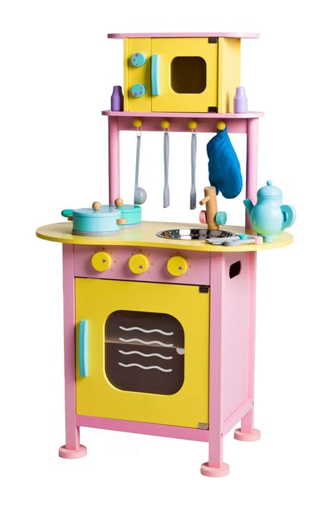 Wooden Play Kitchen Complete With Kitchen Utensils And