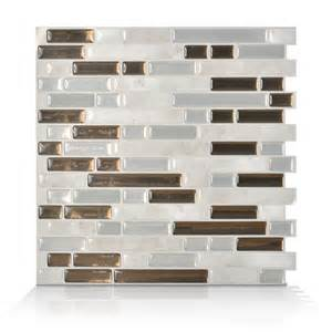 smart tiles 6 pack bellagio grigio composite vinyl mosaic subway peel and stick wall tile