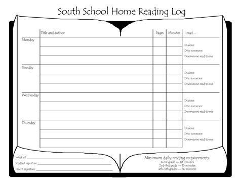 Reading Log For High School Students Template by South School Home Reading Log Bestofhouse Net 33297