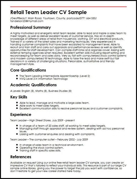 retail team leader cv sle myperfectcv
