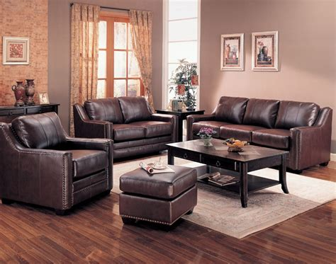 Gibson Leather Living Room Set In Brown Sofas