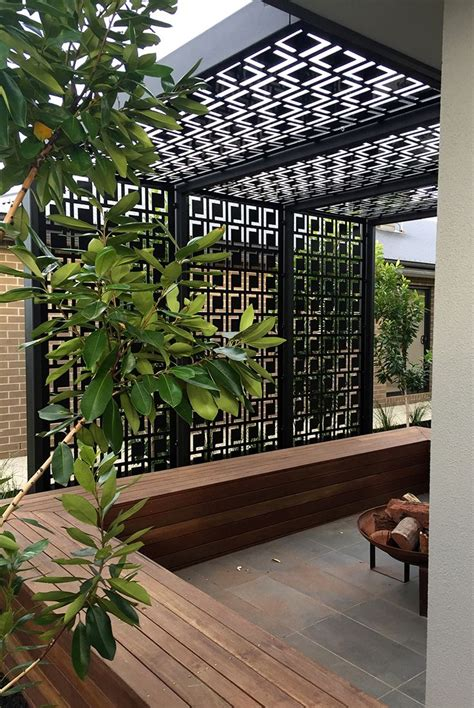 Backyard Screens by Patio Pergola Decorative Laser Cut Screens Add Shade