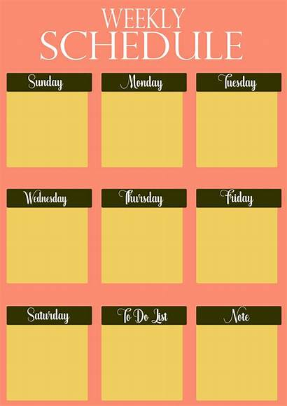 Schedule Template Weekly Printable Pdf Planner Colorful