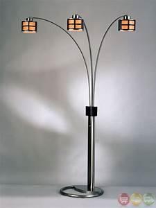 Ventana brown lantern shade 3 light arc floor lamp 4472 for Arc floor lamp glass shade