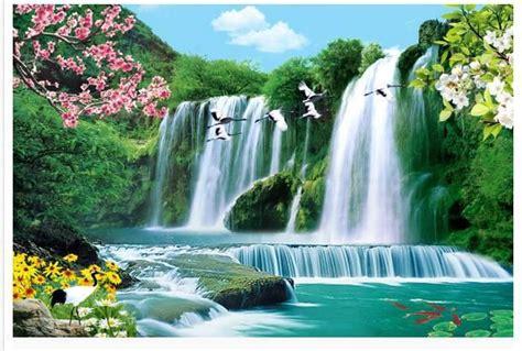 bird waterfall landscape tv backdrop  wallpaper hd