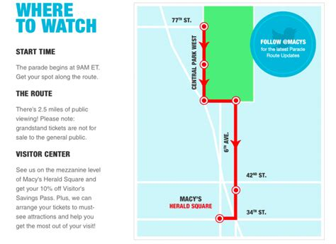 macys thanksgiving day parade   stream route map