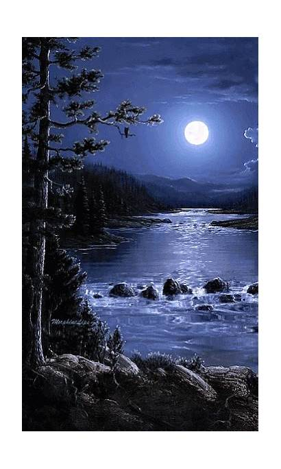 Nature Moon Scenery Night Landscapes Waterfalls Sweet
