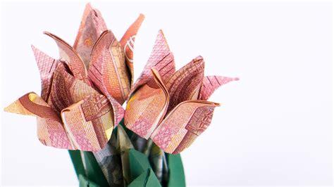 geld falten blumen tulpen blumentopf aus geldscheinen