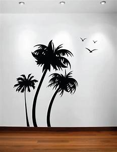 Palm tree wall decal 2017 grasscloth wallpaper for Beautiful palm tree decal for wall