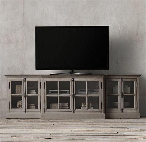 french casement glass media console restoration hardware media room design media console