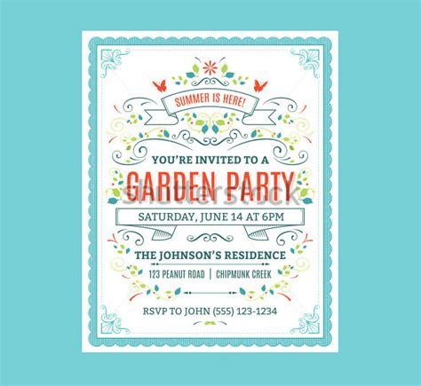 printable psd garden party invitation templates psd