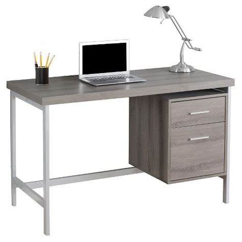 Computer Desk With Drawers Silver Metal Dark Taupe