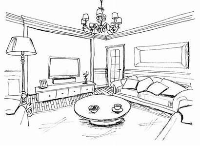 Living Sketch Interior Woonkamer Schets Grafische Binnenlandse