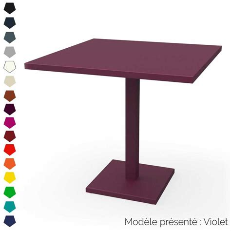 table carree pied central en acier personnalisable