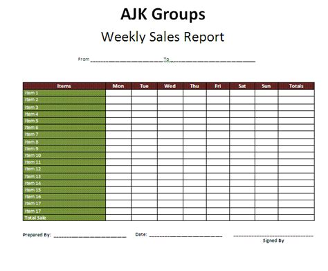 weekly report templates   ms word  formats