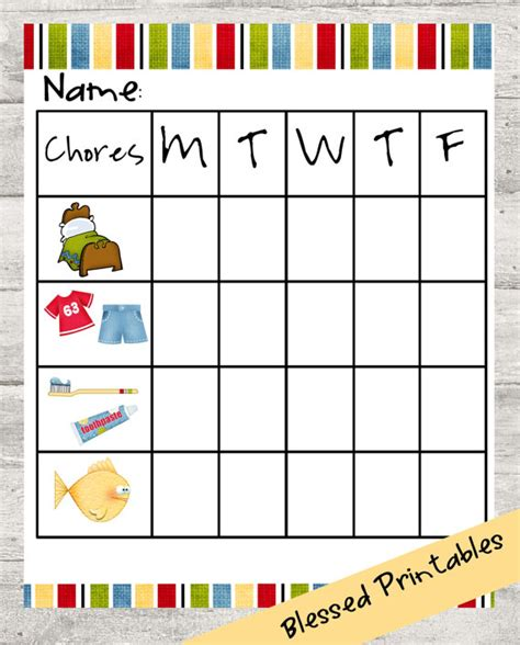 Free Printable Toddler Chore Chart Template Toddler Chore Chart Printable With