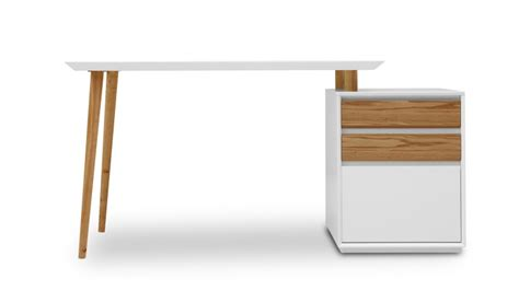 bureaux moderne bureau blanc mat svartan avec caisson 3 tiroirs mobilier