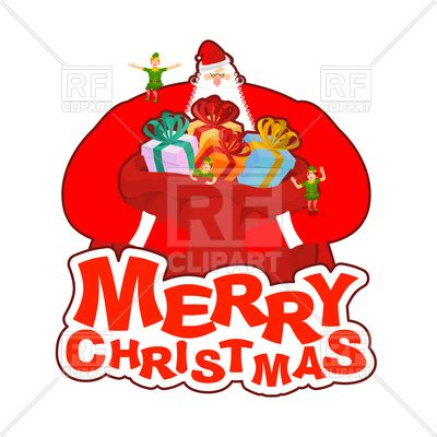 merry christmas card santa claus with bag and elf helper vector image vector artwork of