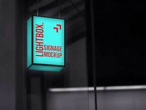 Signage, Lightbox, Mockup, Freebie, In, Psd