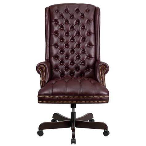 Tufted Leather Desk Chair 187 Inspire Tufted Leather by High Back Traditional Tufted Burgundy Leather Executive
