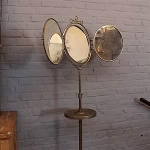Miroir Ancien Pas Cher : meubles miroir barbier triptyque mirclair vintage sur pied mural adhesif trumeau deco ~ Melissatoandfro.com Idées de Décoration