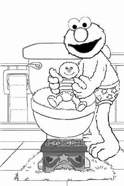 Potty Elmo Training Coloring Pages Sheets Colouring