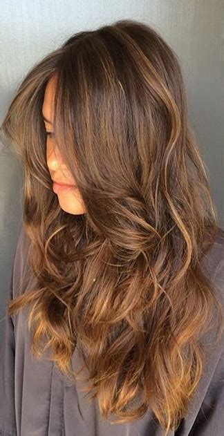 brunette highlights  long layers neil george