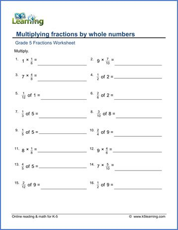 grade 5 math worksheets multiplying fractions by whole