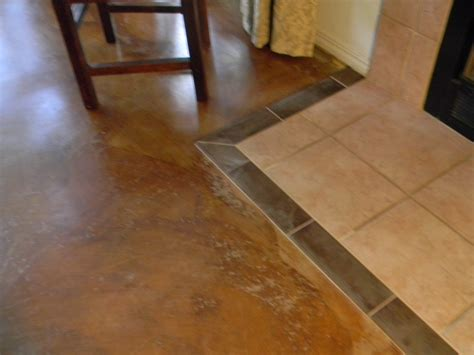 Carpet To Tile Transition On Concrete by Stained Concrete Floors