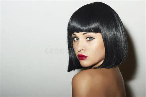 Retro Beautiful Brunette Woman.bob Haircut.red Lips.beauty