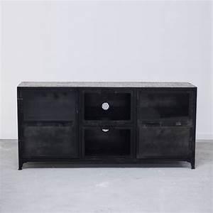 Meuble Bois Et Noir : meuble tv bahut commode industriel en bois et fer 6 ~ Dailycaller-alerts.com Idées de Décoration