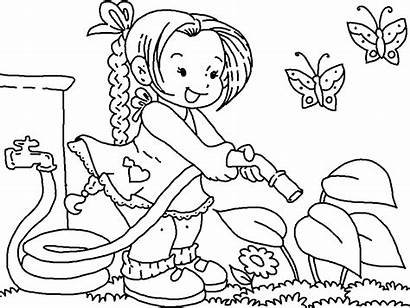 Coloring Garden Pages Water Watering Flower Gardening