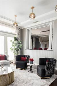 Art, Deco, Sitting, Room, With, Black, Chairs