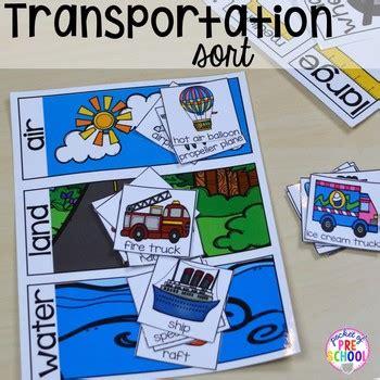 transportation math  literacy centers  preschool