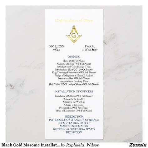 Black Gold Masonic Installation Program Template Zazzle