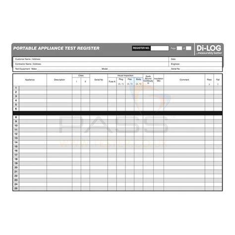 Pat Testing Record Sheet Template by Dilog Dlc107 Pat Testing Log Book