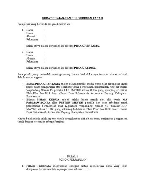surat perjanjian pengurusan tanah  lrtf